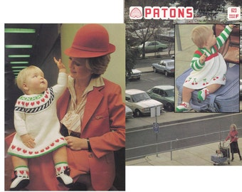 70s Vintage Retro baby knitting patterns book Patons 623 Baby Dresses Sweaters Hats Jumpsuits Rompers Leggings ORIGINALs NOT PDF