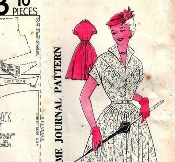 RARE 1940s Vintage Sewing Pattern Australian Home Journal 8623 Dress with triangular bodice Bust 36 UNUSED FF