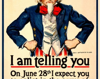 "Reproduction WWI Vintage ""Uncle Sam"" poster-20x30"