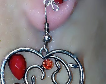 Red Faux Pearls Silver tone Wire Ear cuff/wrap by Earlums
