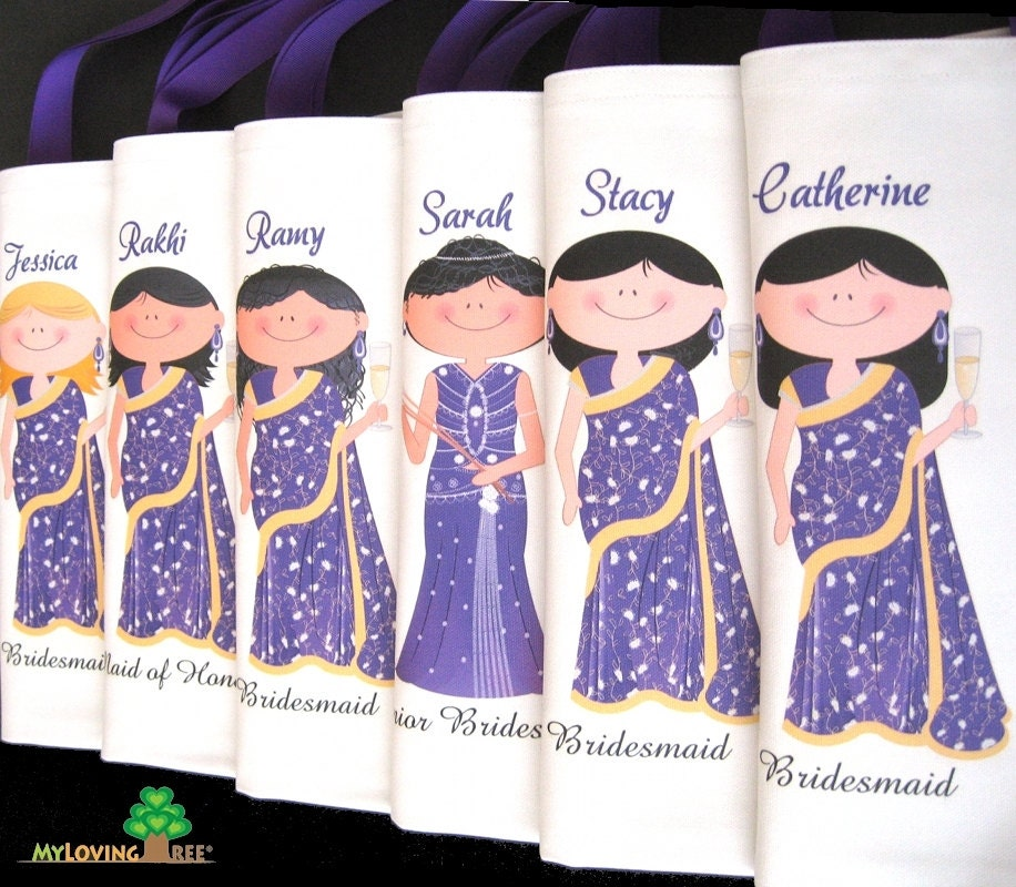 Personalized indian brides and bridesmaids sari wedding gifts What do you give at a bridal shower