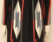 Size Large Vintage Black Geometric Print Maxi Coat