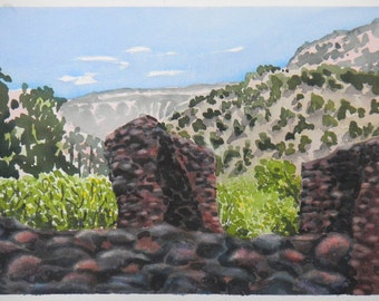 Original watercolor Jemez Historic Site New Mexico