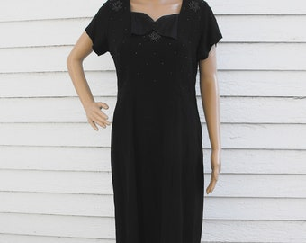 Vintage 50s Black Dress Beaded 1950s M L