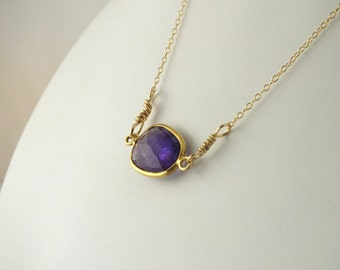 Moss Amethyst Gold Necklace, February Birthstone Necklace, Amethyst Connector Necklace