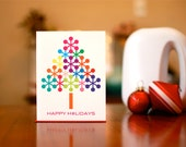 Rainbow Atomic Snowflake Trees - 10 Pack of Holiday Cards on 100% Recycled Paper