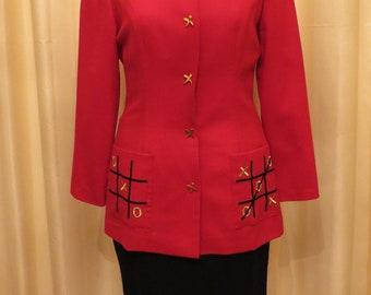 Vintage 80s Samantha Exclusively Designed Knots and Crosses One Piece Office Business Dress Suit