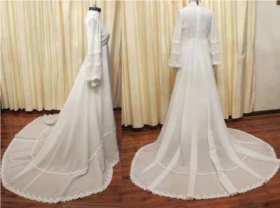 Vintage white 70s hippie daisy flower cotton lace empire waist for 70s style wedding dress