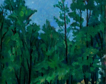 Spring Rain, Berkshires. 17x14 Oil Painting on Panel, Strip Framed American Impressionist Landscape, Signed Original Fine Art