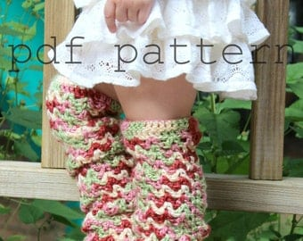 Toddler Leggings, Crochet Leg Warmers, Baby Leggings, Scallops and Lace, Baby Winter Accessory, Crochet Pattern, DIY pattern