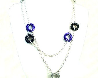 Chainmaille Jewellery, Chainmail Necklace, Mobius, Black, Purple, Silver