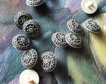 Black and White Vintage Buttons Plastic 5/8 Inch