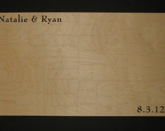 """91-100 pc Wooden Guest Book Puzzle PLAIN WOOD - Can Be PERSONALIZED 15"""" X 26"""" Hand Cut"""