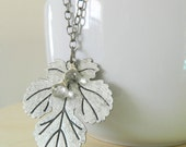 Lothlorien Leaf Necklace - Antique Silver and Light Green Amethyst Gemstones - READY TO SHIP
