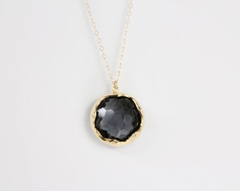 Smokey Black Glass Pendant Necklace - Gold or Silver - Miabell