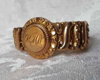 Large Ornate Gold Filled Expandable Bracelet