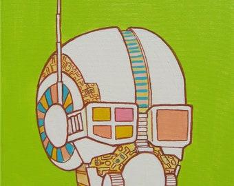 Robot Head Original Artwork Acrylic Painting 16 x 20