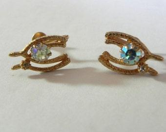 Vintage Earrings 50s Wish Bone Screwbacks with AB Rhinestones - on sale