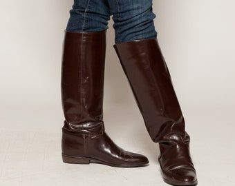 Vintage Equestrian Riding Boots - Brown Leather - Fall Fashions Size 8