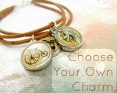 Personalized Charm Bracelet, Choose Your Own Charm 3 Strand Greek Leather Bracelet, Custom