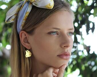 Boat Earrings, Sailboat Earrings, Ship Earrings, Summer Jewelry, Spring Jewelry, Sea Earrings, Ocean Earrings, Sea Life Jewelry, Vacation
