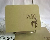 Christmas Cards Set of 25 Simple Handmade Elegant Reindeer Sparkling Antlers Holiday Greeting Card Set