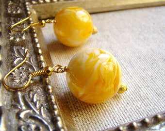 SALE Round Amber 20 mm Gold Earrings Sunshine