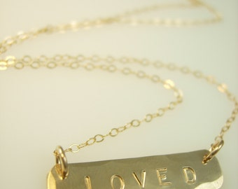 Small Gold Bar Necklace - Love Necklace - Hand Stamped Necklace