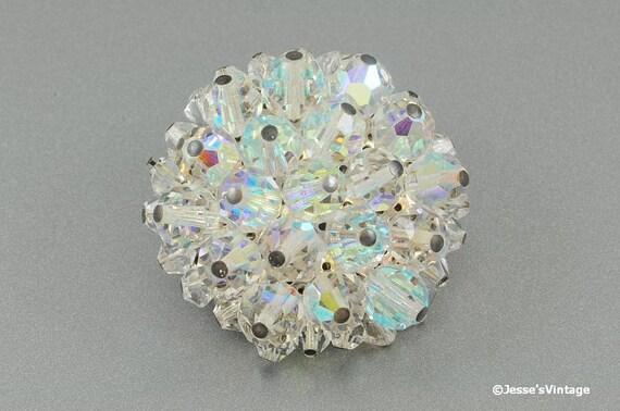 Vintage AB Bead Brooch Crystal Glass Aurora Borealis Beads