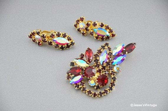 Demi Parure Brooch Earring Set Dark & Siam Red Rhinestone