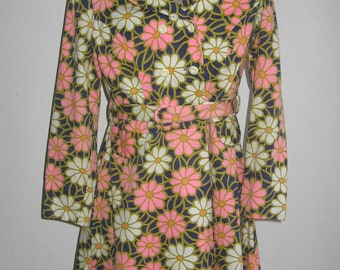 sale 60s vintage flower power coat dress