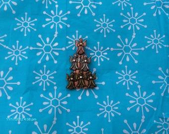 Tri Color Metal Angel ChristmasTree Brooch / Pin - Unique