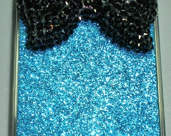 For iPhone 4 4G 4S - BIG Black Crystal Bling Cute Bow on Blue Glitter Sparkle Case Cover Shell