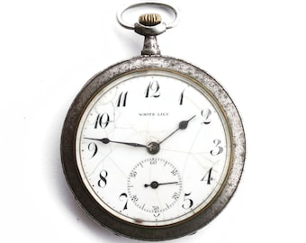 RARE Antique Swiss pocket watch White Lily