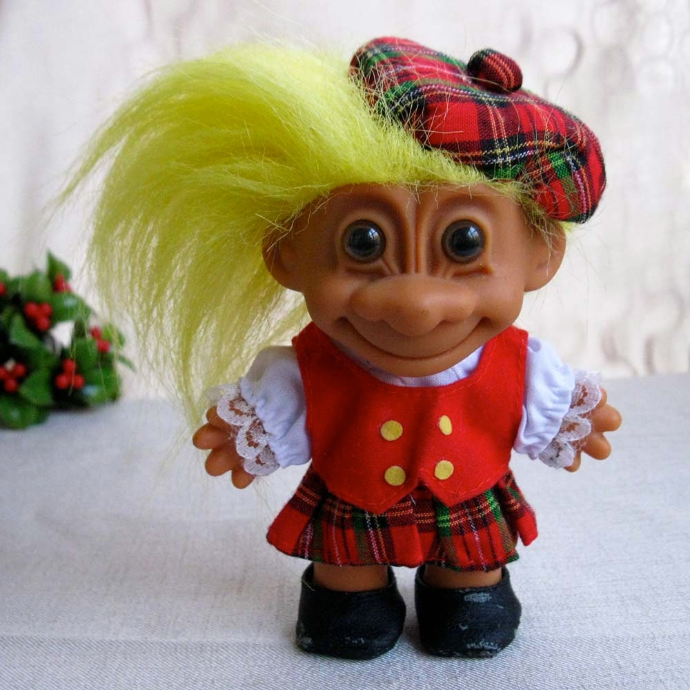 Vintage Scottish Christmas Troll Doll With Tartan Plaid Kilt