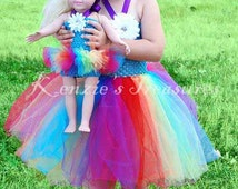 Doll and Me - Matching Child and Doll Rainbow Tutu Dress - Size NB to 24 Months - Can Be Worn Different Ways