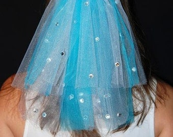 Create Your Own Color Blend Wedding or Bachelorette Party 2-Tier Veil Clip With Rhinestones
