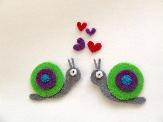 felt applique, two snails in love