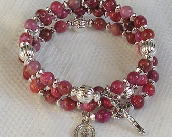Five Decade Catholic Rosary Bracelet - Fuchsia Crazy Lace Agate with Silver Miraculous Medal