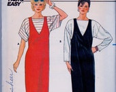 Butterick 6622 Vintage Jumper Dress and Top Sewing Pattern 1980s UNCUT Bust 31-34 Inches