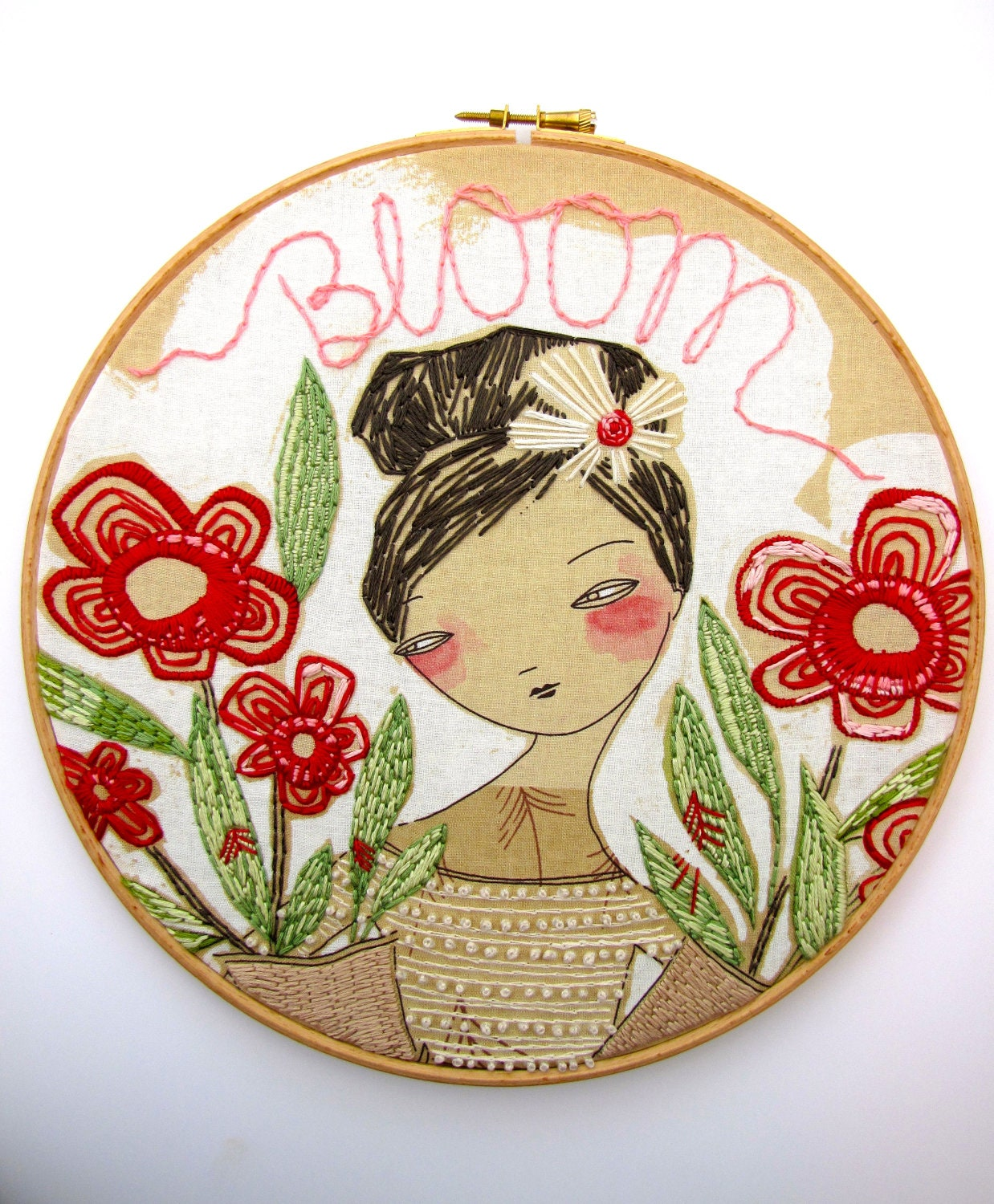 Bloom hand embroidery hoop art red and green flowers