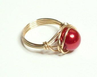 Red Pearl Gold Handmade Wire Wrapped Ring Sizes 1-14