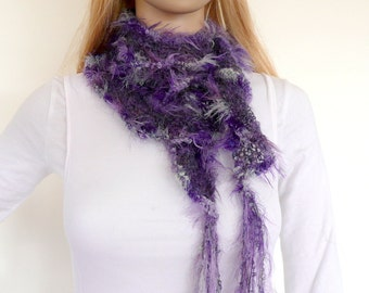 Hand Knitted Scarf, Purple Ruffle Scarf in Fine kid mohair