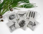 Gift Set of 6 Woodland Sachets. Linen Sachets. Lavender Sachets. Balsam Fir Satchet. Hostess Gifts. Wedding Favors. Stocking Stuffers