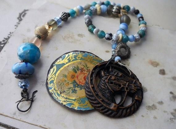 Beaded Necklace --  Blue Bead Horse Necklace - Floral Tin, Vintage Button - Assemblage Pendant - Lampwork Glass, Bone, Vintage Beads