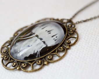Jellyfish jewelry Antique Bronze necklace wearable art necklace. Photo jewelry on an 18 in antique bronze chain necklace