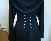 Black corset laced steampunk festival cloak jacket hoody  pixie fairy red riding hood girly pirate - FayeTalityCouture