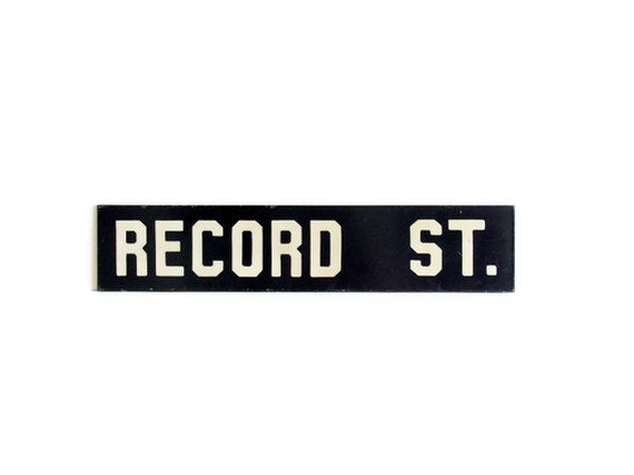 Antique Enamelware Sign Record Street Cobalt Blue White Graphics