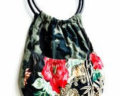 Eco Friendly Funky Reversible Bamboo handle purse bag Eco Fashion Camo Florals Pockets hunting wild