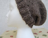 Women's Slouchy Beanie Hat in Barley (Brown) READY TO SHIP
